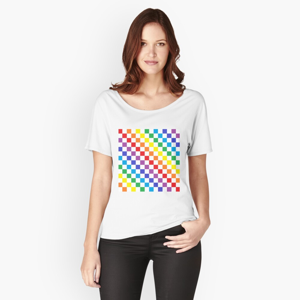 Checkered Rainbow  Relaxed Fit T-Shirt