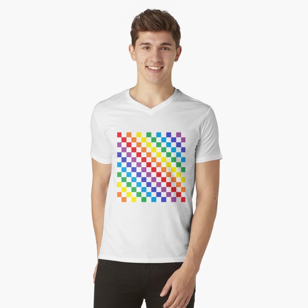 Checkered Rainbow  V-Neck T-Shirt