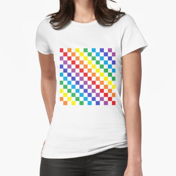 Checkered Rainbow  Fitted T-Shirt