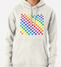 Checkered Rainbow  Pullover Hoodie