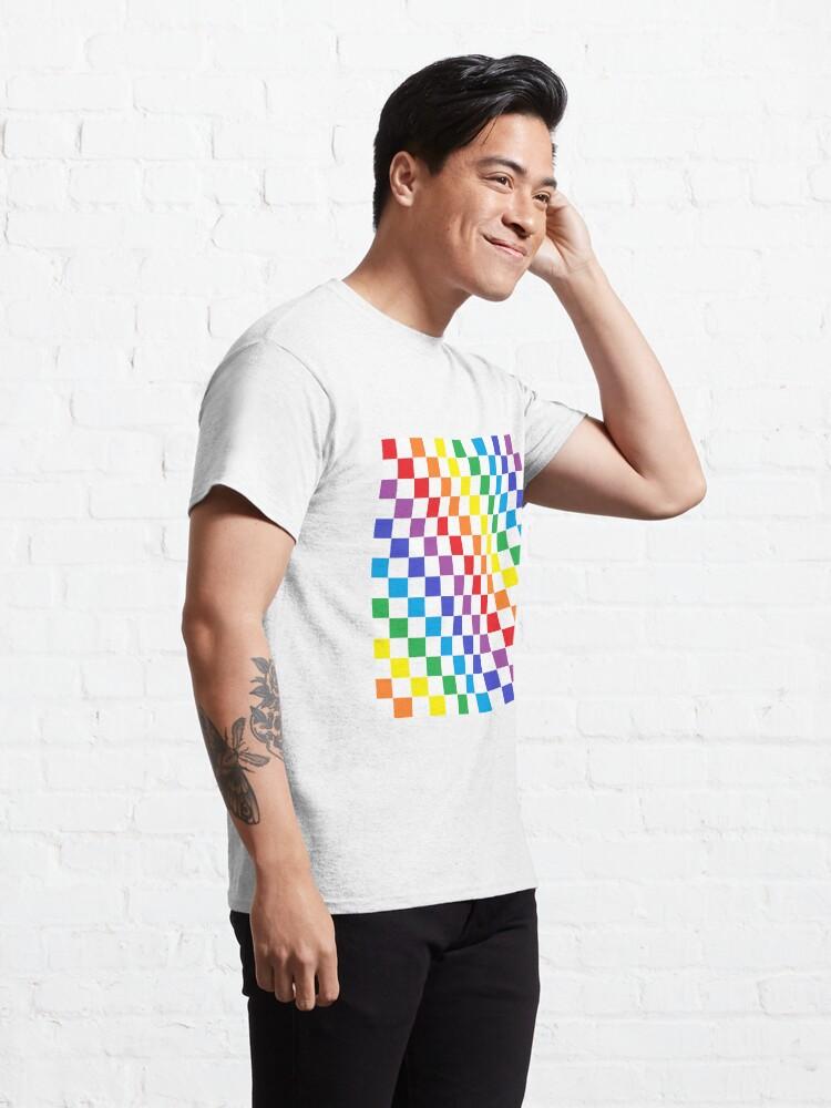 Alternate view of Checkered Rainbow  Classic T-Shirt
