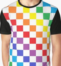 Karierter Regenbogen Grafik T-Shirt