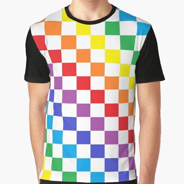 Checkered Rainbow  Graphic T-Shirt