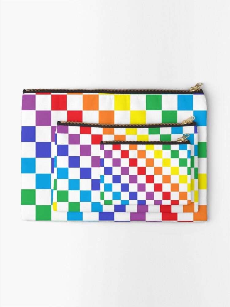 Alternate view of Checkered Rainbow  Zipper Pouch