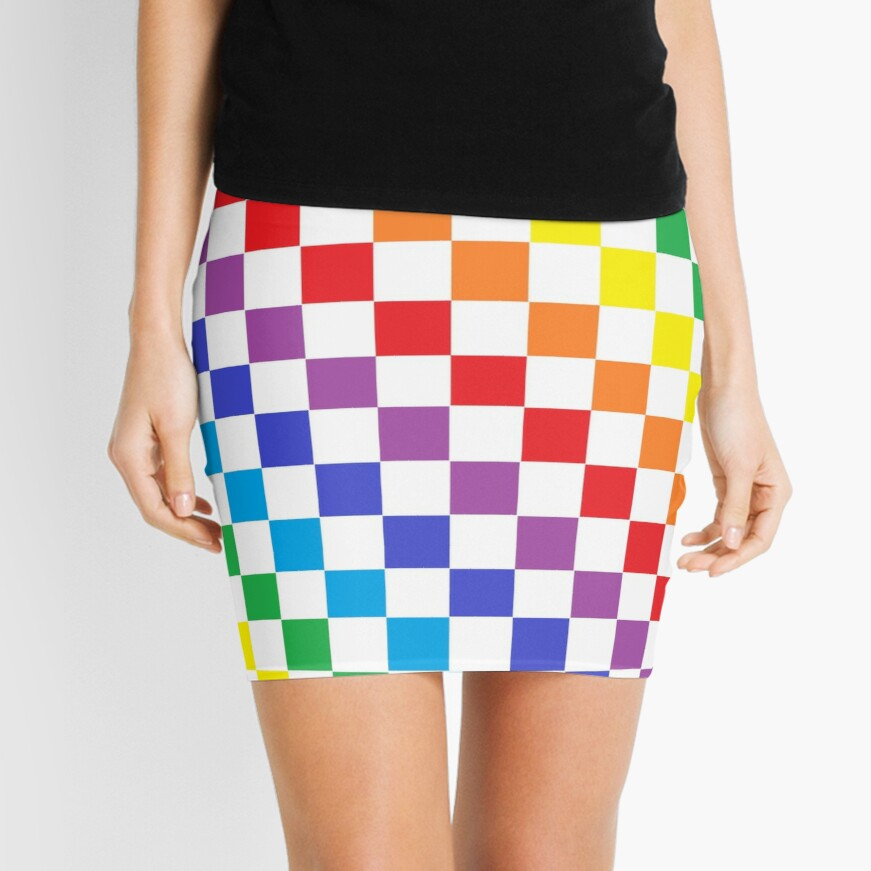 Checkered Rainbow  Mini Skirt
