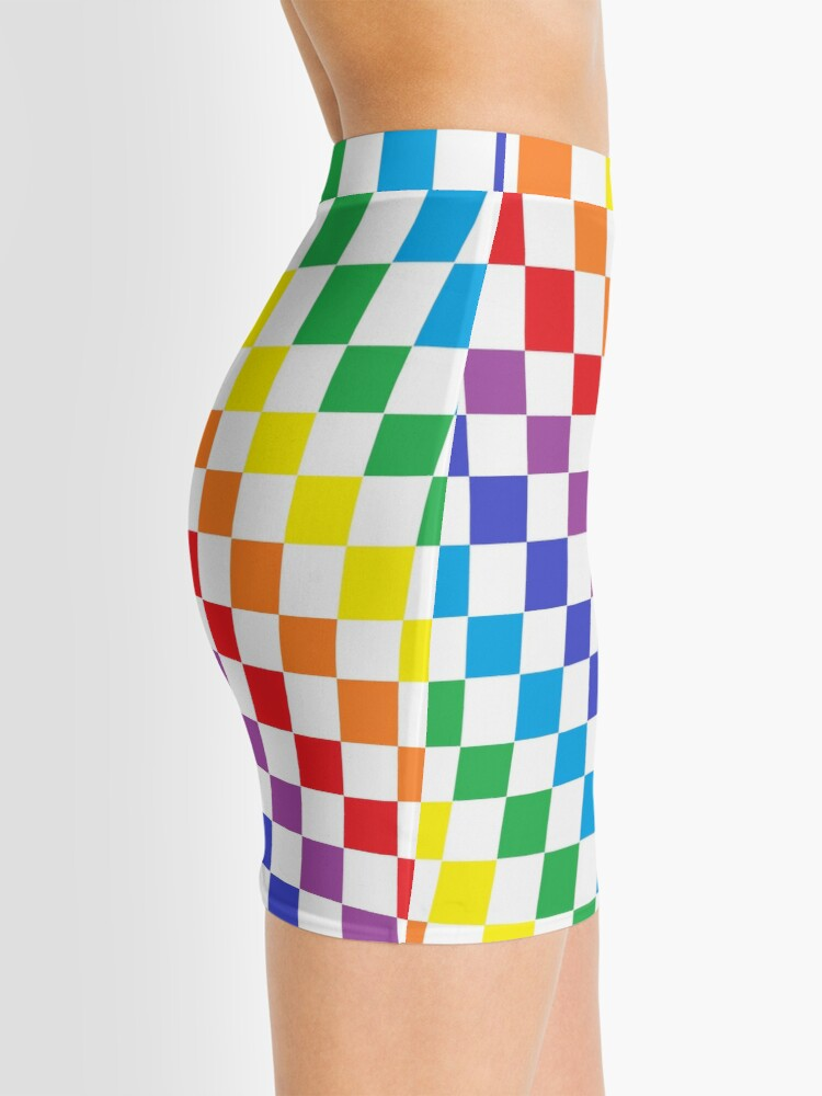 Alternate view of Checkered Rainbow  Mini Skirt