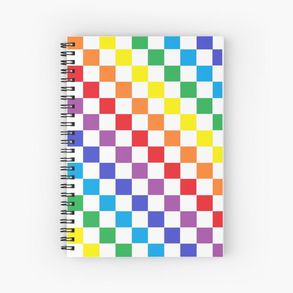 Checkered Rainbow  Spiral Notebook