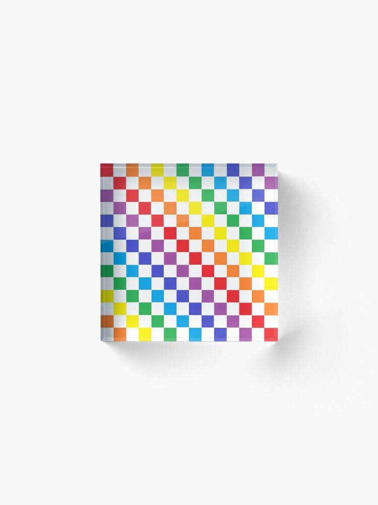 Alternate view of Checkered Rainbow  Acrylic Block