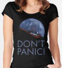 Spacex DON'T PANIC In Space Women's Fitted Scoop T-Shirt