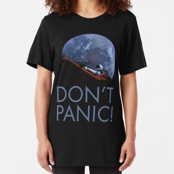 Spacex DON'T PANIC In Space Slim Fit T-Shirt