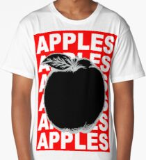Black and White Apple Fruit Food on Red Background Design Drawing Illustration Long T-Shirt