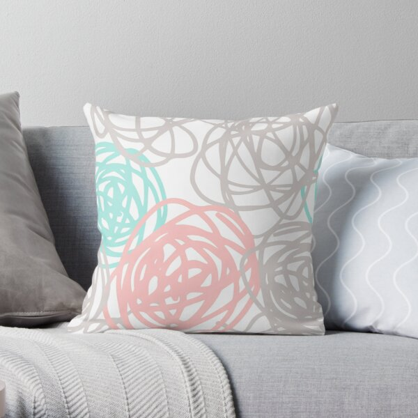 Teal Pink and Gray Scribble Art Throw Pillow