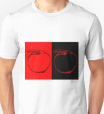 Black and Red Apple Fruit Food on Red and Black Background Design Drawing illustration Unisex T-Shirt