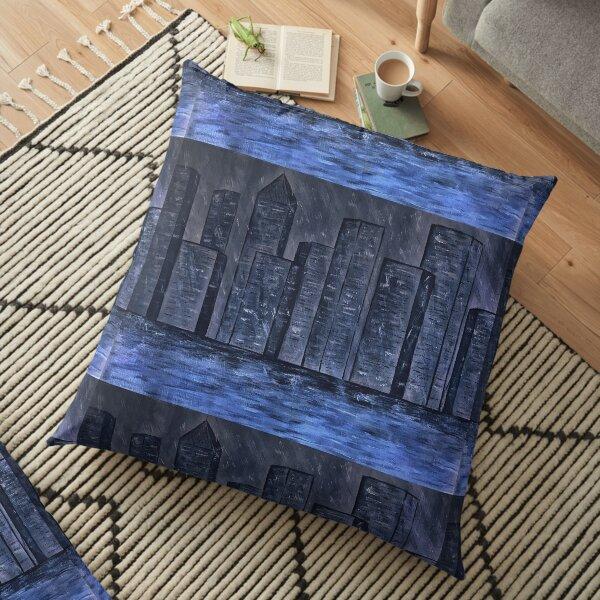 Rain in the city Floor Pillow