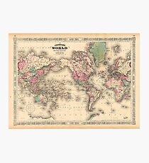 vintage map of the world Photographic Print