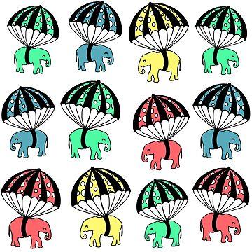 Cute Parachuting Baby Elephants by HoneybethStudio