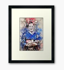 Young Maiko in Royal Blue Kimono Framed Print