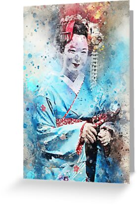 Young Maiko in Bright Blue Kimono by thesushitimes