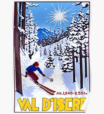 Val d'Isère, France, skiing woman, vintage travel Poster Poster