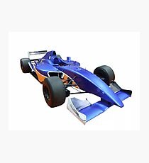 Blue racing car isolated on white Photographic Print