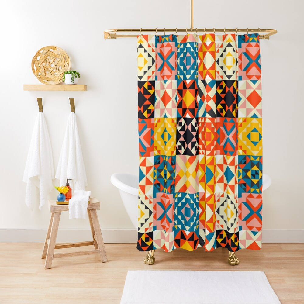 maroccan tile mosaic pattern no2 Shower Curtain