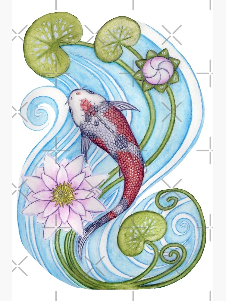Japanese Koi Carp With Water Lily Greeting Card By Schiraki Redbubble