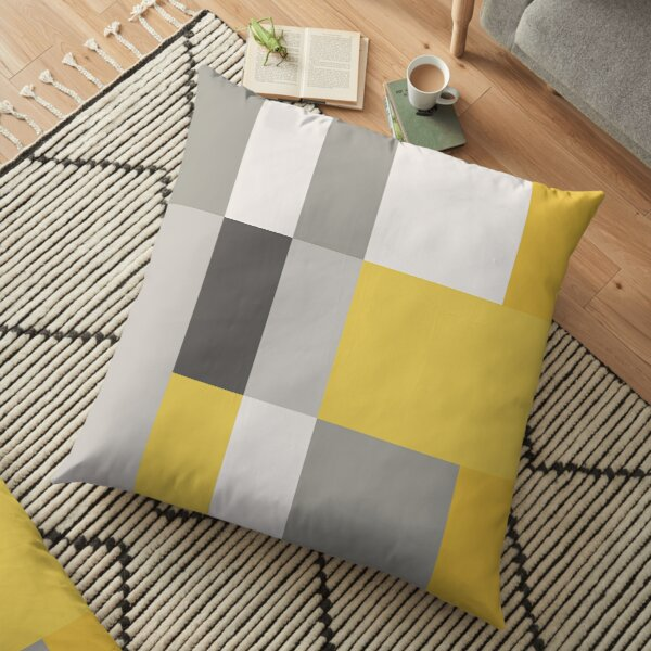 Mustard & Grey Patchwork  Floor Pillow
