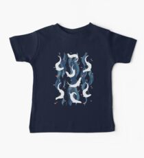 Swimming otters on navy blue Baby Tee
