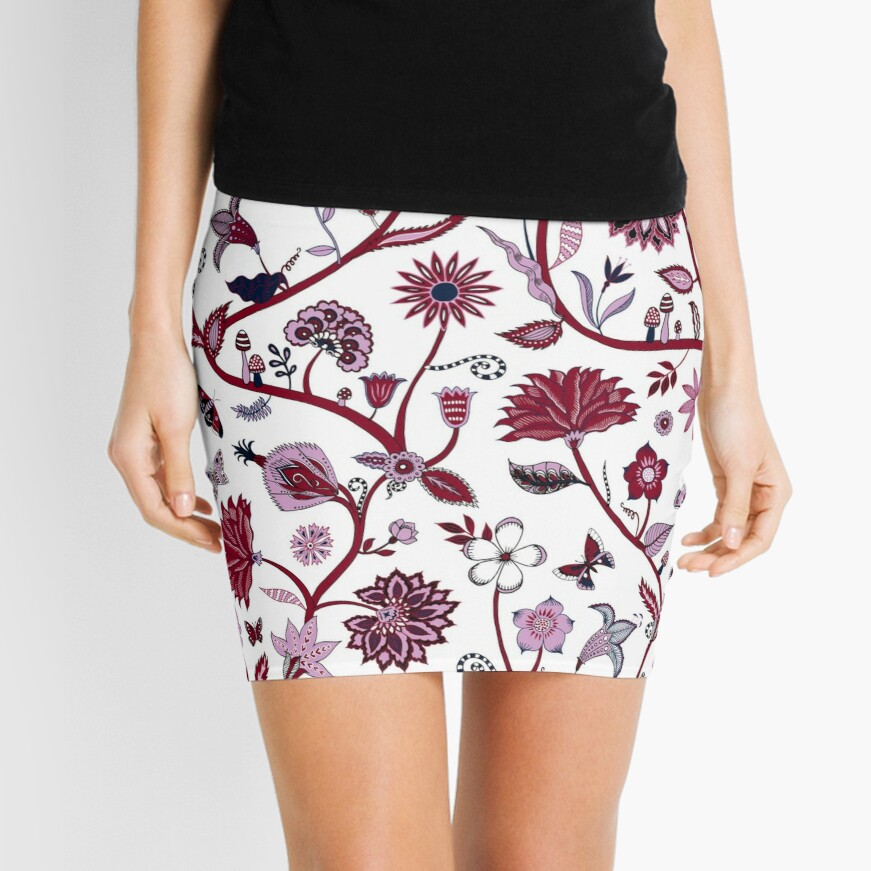 Fantasy Indian Floral - elegant, romantic pattern by Cecca Designs Mini Skirt Front