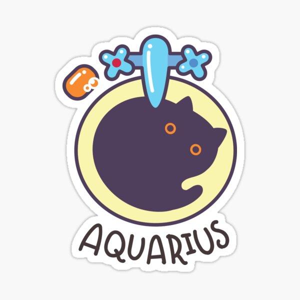 Funny Aquarius Cat Horoscope Tshirt - Astrology and Zodiac Gift Ideas! Sticker