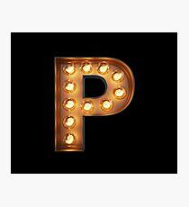 P Initial Neon Light Photographic Print