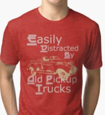 Easily Distracted By Old Pickup Trucks Custom Retro Tri-blend T-Shirt