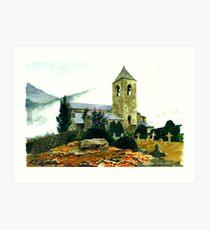The Church, Prats Balaguer, Pyrenees Orientales Art Print