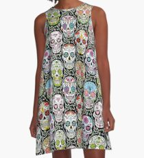 Mexican Skull Pattern A-Line Dress