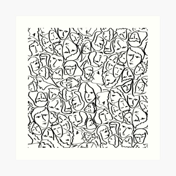 Call Me By Your Name Elios Shirt Faces in Black Outlines on White CMBYN Art Print