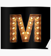 M Initial Neon Light Poster