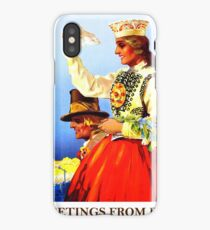 Greetings from Riga, Latvia, railway travel, vintage poster iPhone Case/Skin