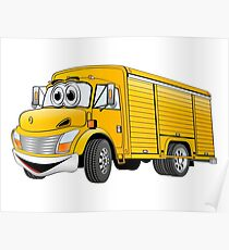 Yellow  Beverage Truck Cartoon Poster