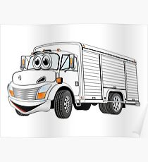 White Beverage Truck Cartoon Poster