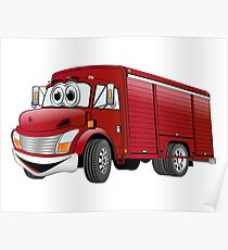 Red  Beverage Truck Cartoon Poster
