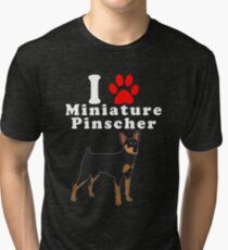 I Love My Miniature Pinscher in the Year of the Dog Adopt & Rescue Dog Lover Mom or Dad Save Abandoned Pet Tri-blend T-Shirt