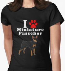 I Love My Miniature Pinscher in the Year of the Dog Adopt & Rescue Dog Lover Mom or Dad Save Abandoned Pet Women's Fitted T-Shirt