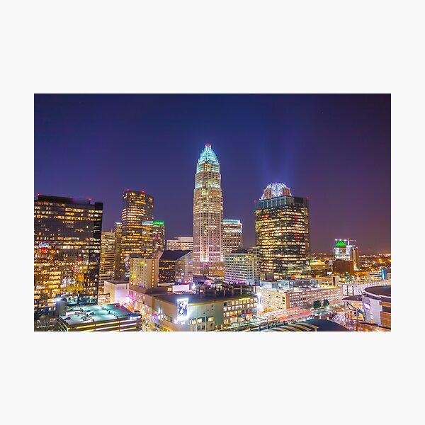 charlotte skyline aerial Photographic Print