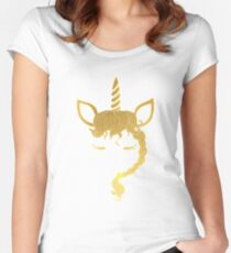 Beautifl, one of a kind, golden unicorn for your collection. Women's Fitted Scoop T-Shirt