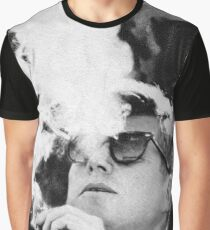 John F Kennedy Cigar and Sunglasses Black And White Graphic T-Shirt