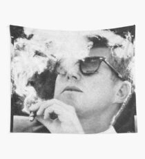 John F Kennedy Cigar and Sunglasses Black And White Wall Tapestry
