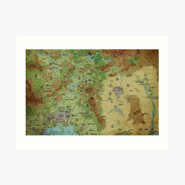 Dragon Pass and Prax Map by Darya Makarava Art Print
