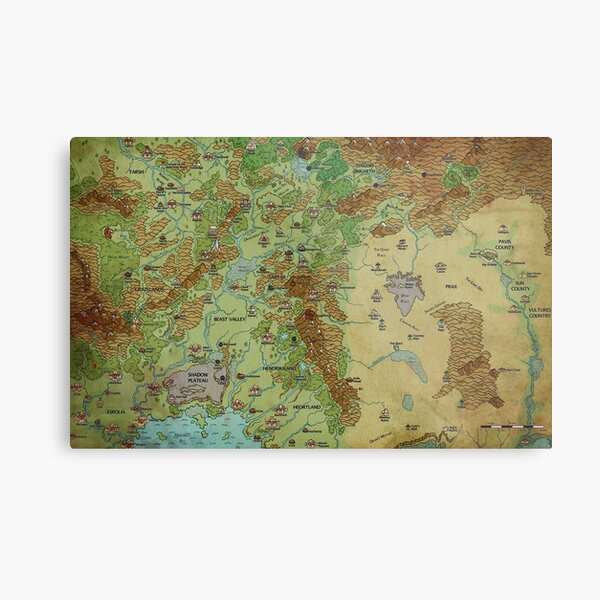 Dragon Pass and Prax Map by Darya Makarava Metal Print
