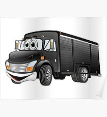 Black  Beverage Truck Cartoon Poster