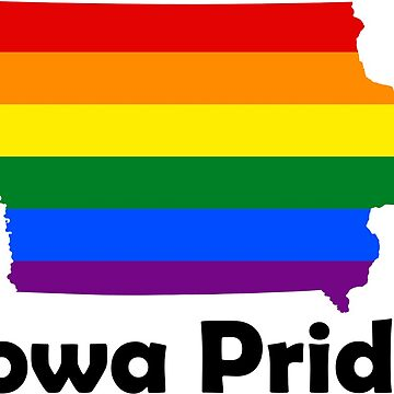 State of Iowa Gay Pride Flag Map by MADdesign